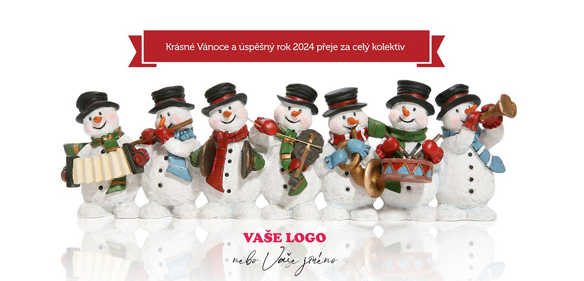 Vánoční kapela složená ze sněhuláků s hudebními nástroji osvěží každé firemní novoroční přání.