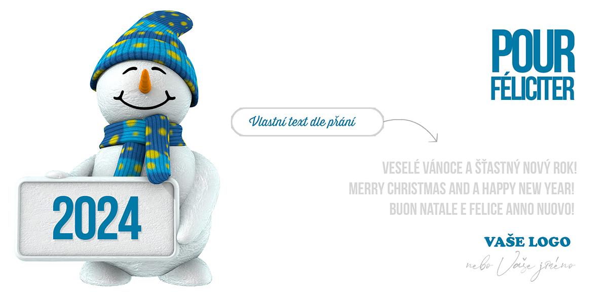 Vtipný sněhulák s modrožlutě puntíkovanou čepicí a šálou držící ceduli s nadcházejícím rokem.