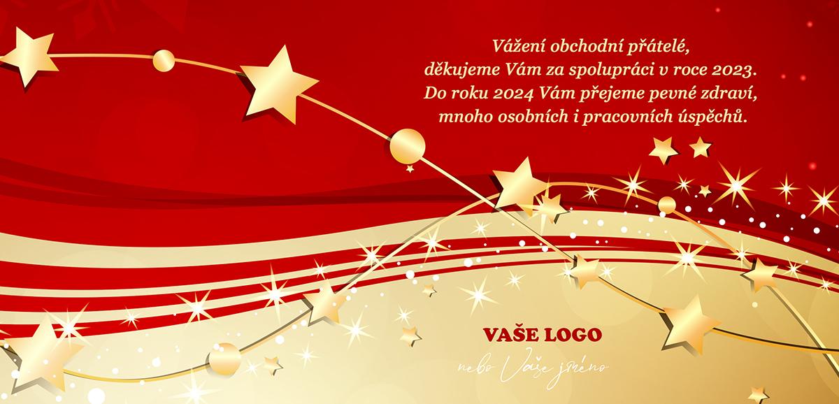 Nepřehlédnutelná novoročenka ve zlatočerveném provedení se zářícími hvězdami a zlatými vánočními řetězy.