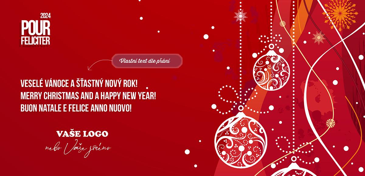 Zajímavě kombinovaná červená novoročenka s bílými jemnými vánočními motivy na strukturovaném pozadí.
