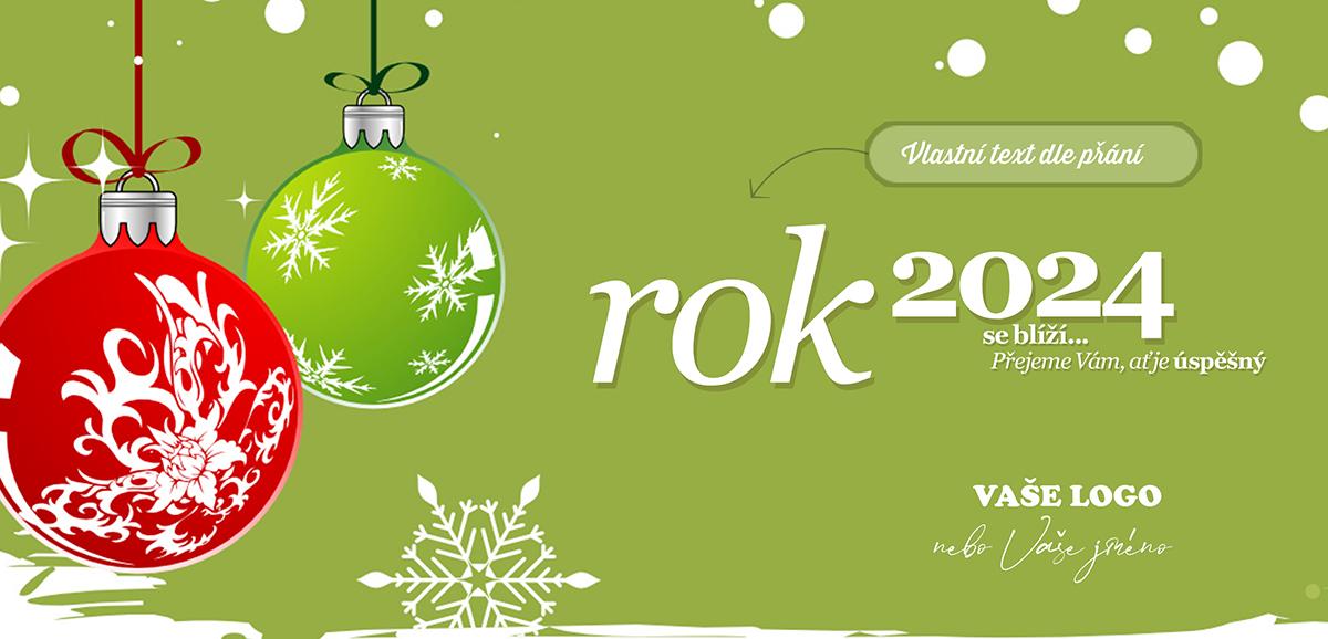 Poctivě retro působí kreslená novoročenka se dvěma vánočními ozdobami a zeleným pozadím.