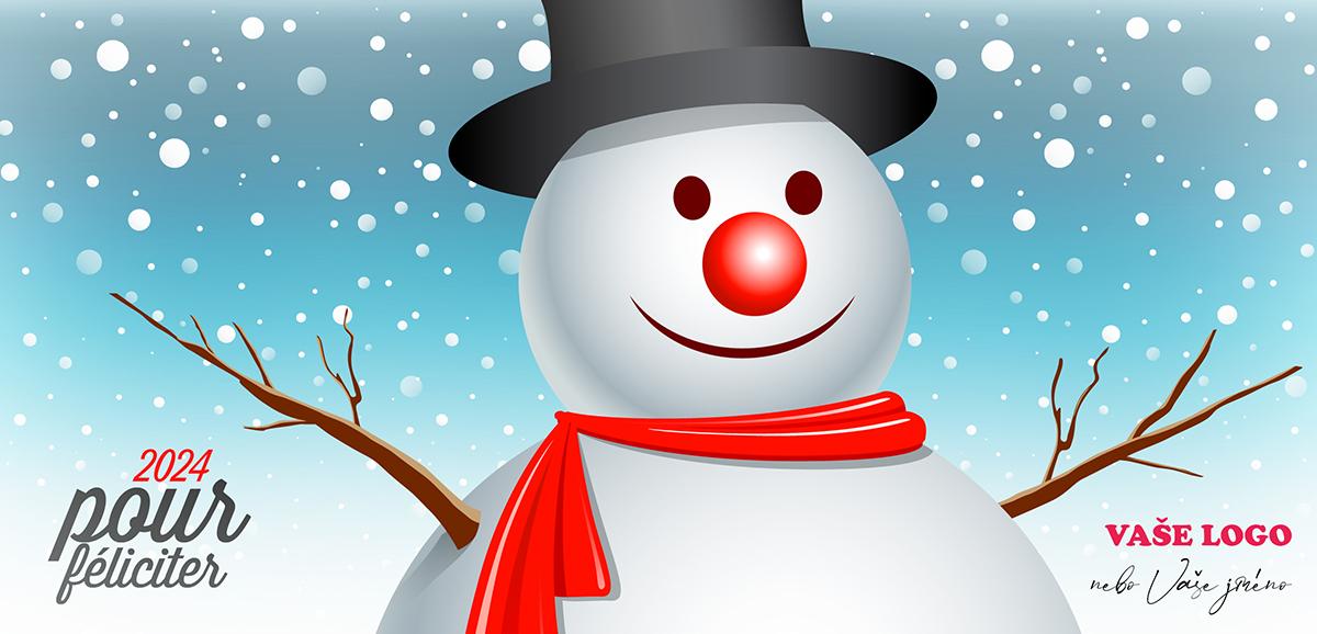 Kreslené vánoční přání se sněhulákem v cylindru s červenou šálou a klaunským nosem na sněžícím pozadí.