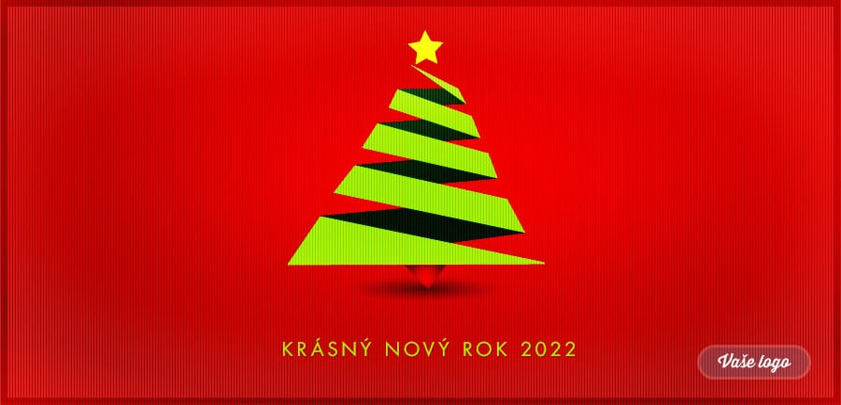 Zelený kubistický vánoční stromeček a červené strukturované pozadí spojuje neobyčejná novoročenka.