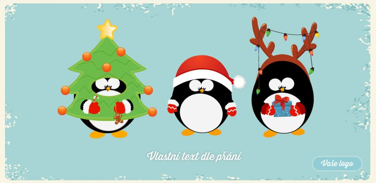 Legrační vánoční přání se třemi tučňáky převlečenými za soba, Santu a stromeček.