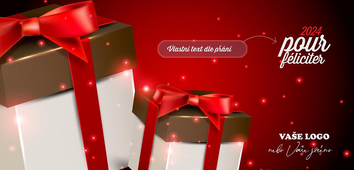 Stylová firemní novoročenka se zlatobílými dárky s červenou stuhou a efektně osvětleným červeným pozadím.