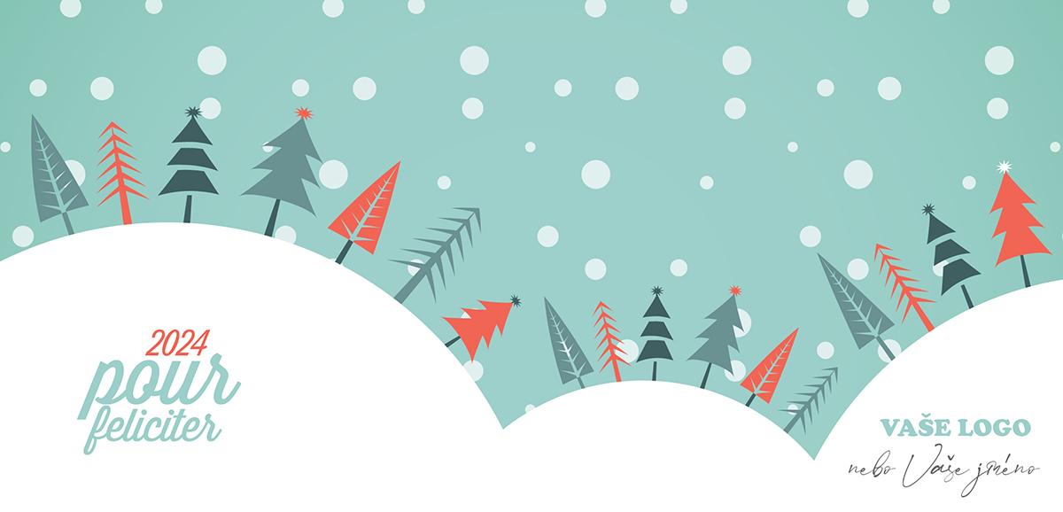 Vtipně nakreslené novoroční přání s různými stromky na třech zasněžených kopečcích