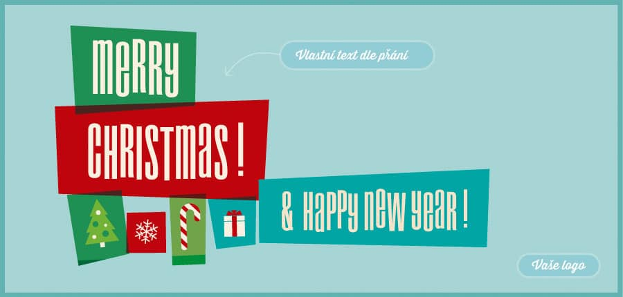 Stavebnicová novoročenka s vánočními motivy, kde dílky skládají dohromady slova i ozdoby celého přání.
