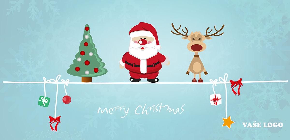 Hravé kreslené vánoční přání se stromečkem, roztomilým Santou i sobem a dárečky