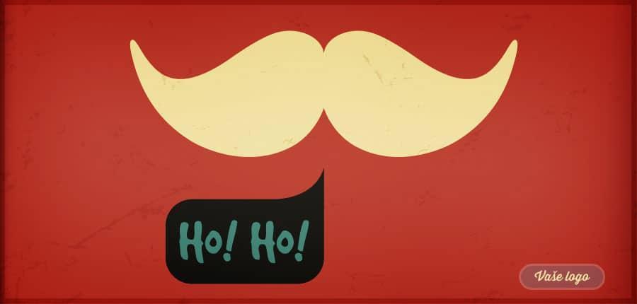 Minimalisticky komiksové vánoční přání se Santovým knírem a bublinkou prozrazující jeho smích.