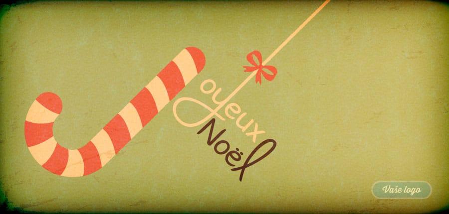 Pozdrav z Francie přináší vánoční cukrová punčoška na stylově zažloutlém pozadí filmového plátna.