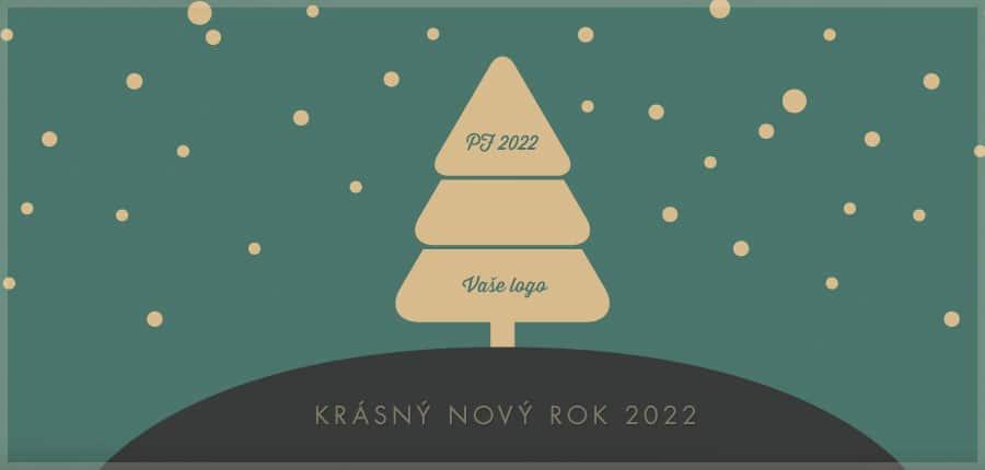 Jednoduchá ikonická retro novoročenka se stromečkem na kopci a padajícím sněhem na zeleném pozadí