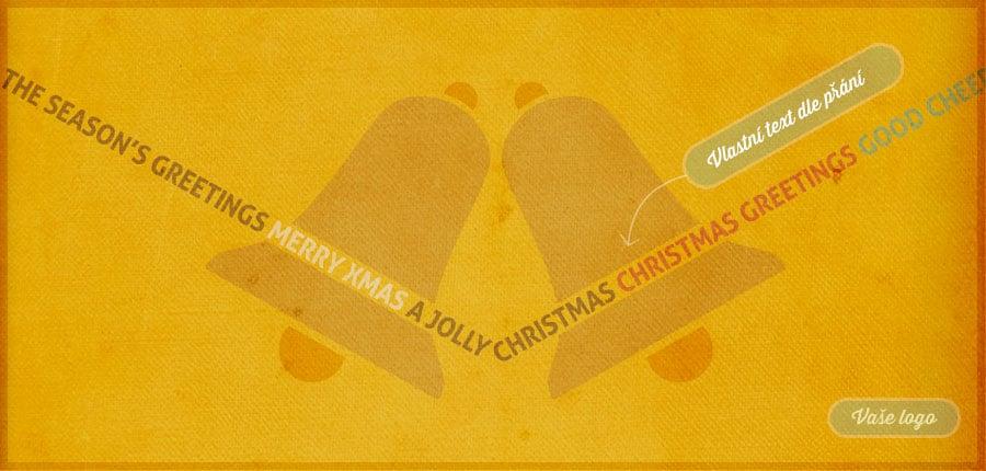 Stínohra dvou vánočních zvonků na žlutém pergamenovém papíře vytváří netradiční vánoční přání.