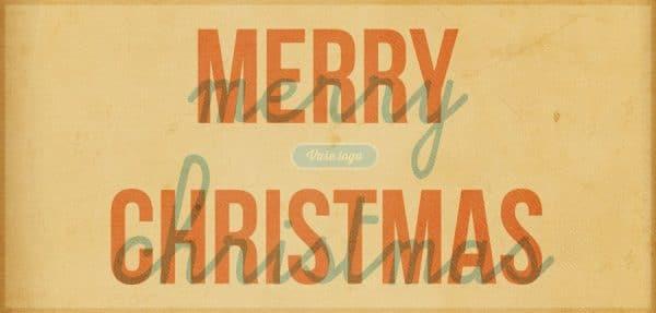 Vánoční přání v retro stylu amerických reklamních nápisů se zažloutlým pozadím.
