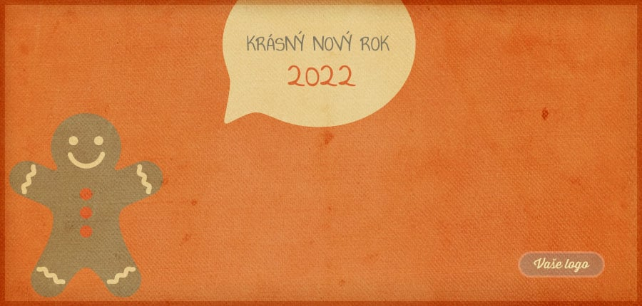 Vtipná komiksová retro novoročenka s perníčkovým panáčkem a bublinkou na oranžovém pozadí.