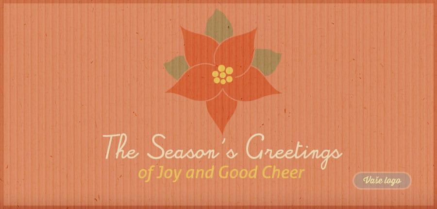 Stylové americky laděné vánoční přání na oranžovém pozadí z recyklovaného papíru s vánoční růží.