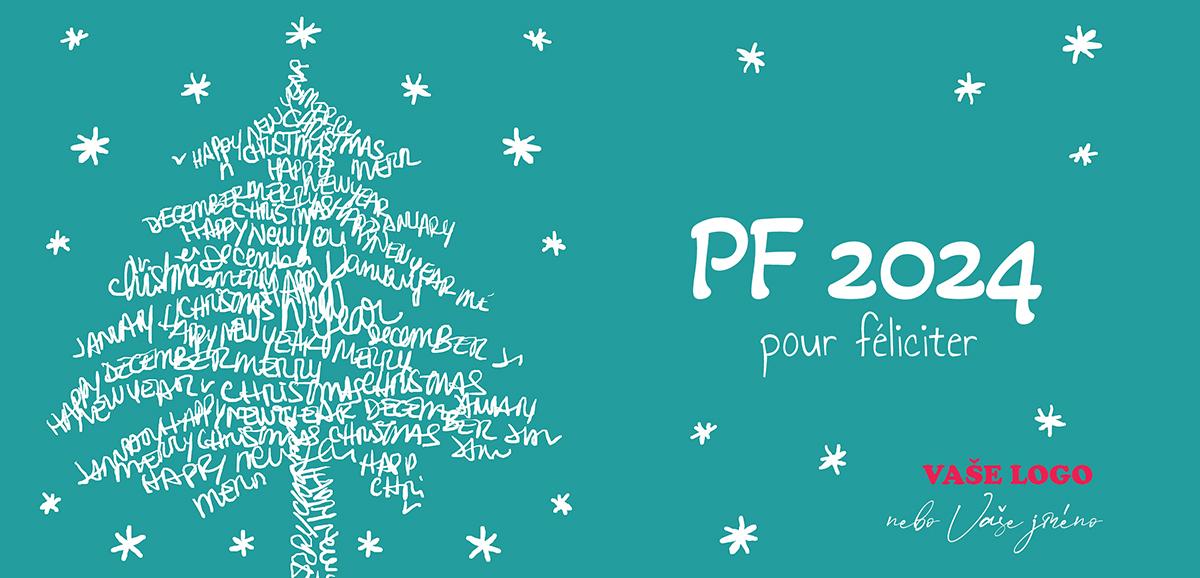 Písmem, z různých přání, vykreslený stromek s dětskými hvězdičkami na pozadí činí novoročenku nezapomenutelnou.