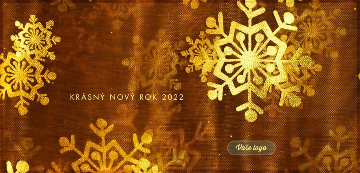 Zajímavá novoročenka se zlatými vločkami na hnědém pozadí s příjemně textilní strukturou.