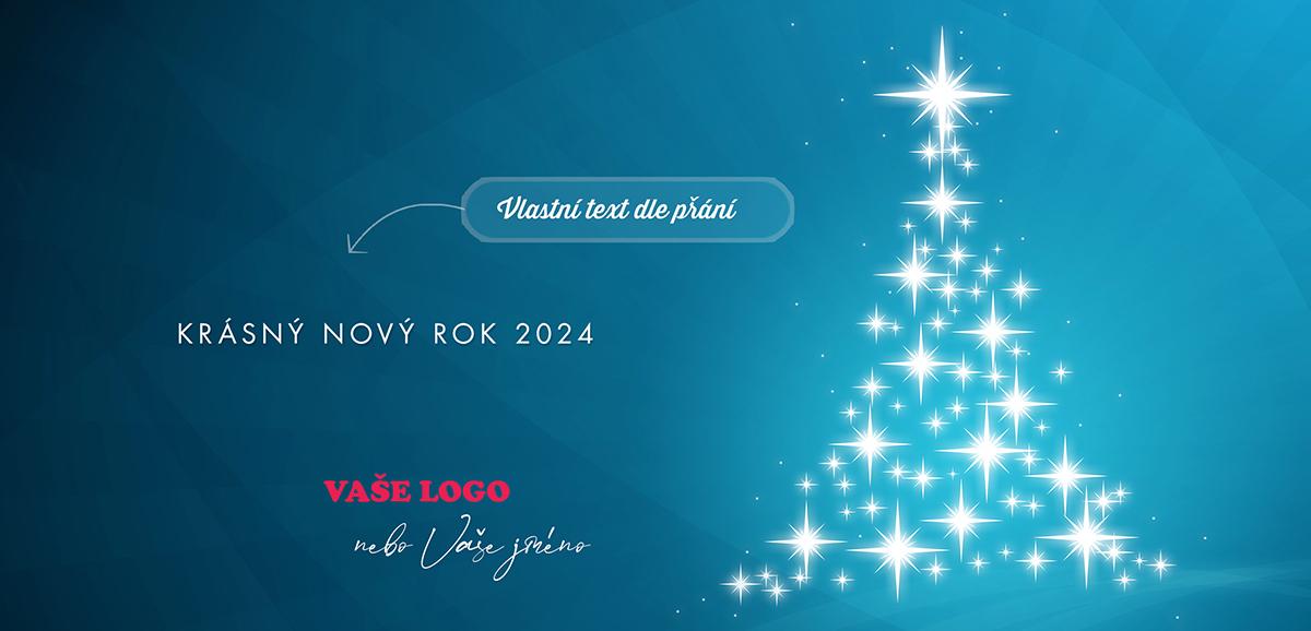 Hvězdičky zářící ve tvaru stromečku na modrém podkladu jen potvrzují krásu jednoduchosti novoročenky.