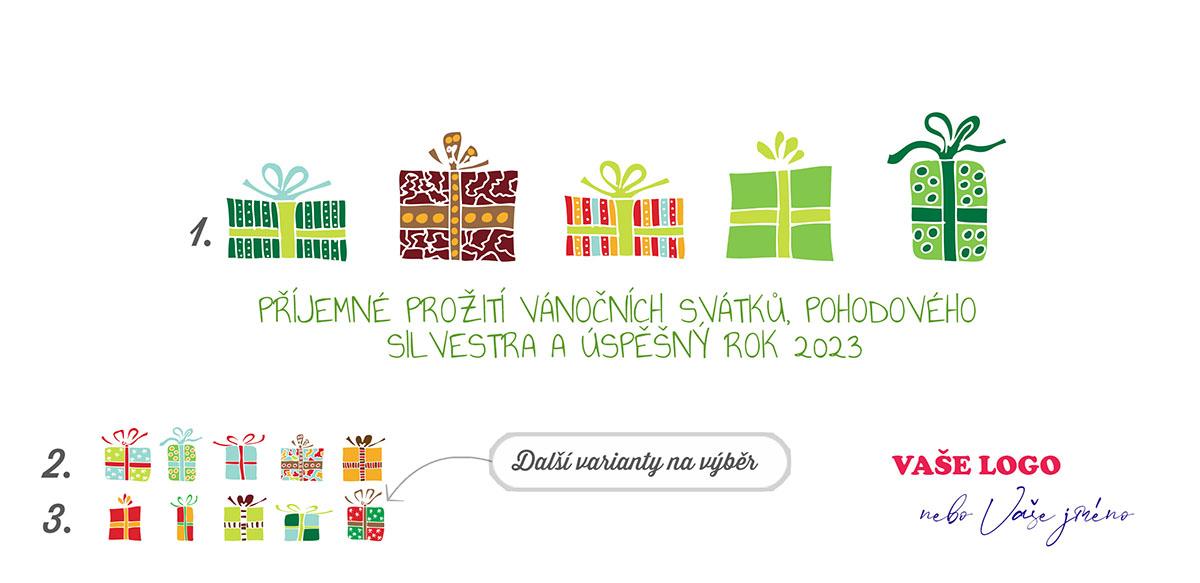 Pětice vtipně nakreslených barevných vánočních dárků určitě sklidí na firemní novoročence úspěch.