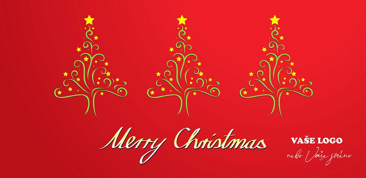 Tři zajímavé zlaté vánoční stromky z ornamentů ozdobené hvězdami na červeném pozadí vánočního přání.