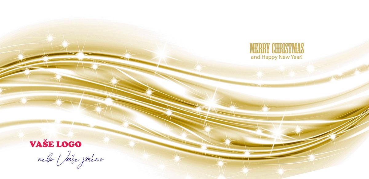 Zlatobílá grafická abstrakce dárkové stuhy se zářivými perličkami jako firemní vánoční přání udělá dojem.