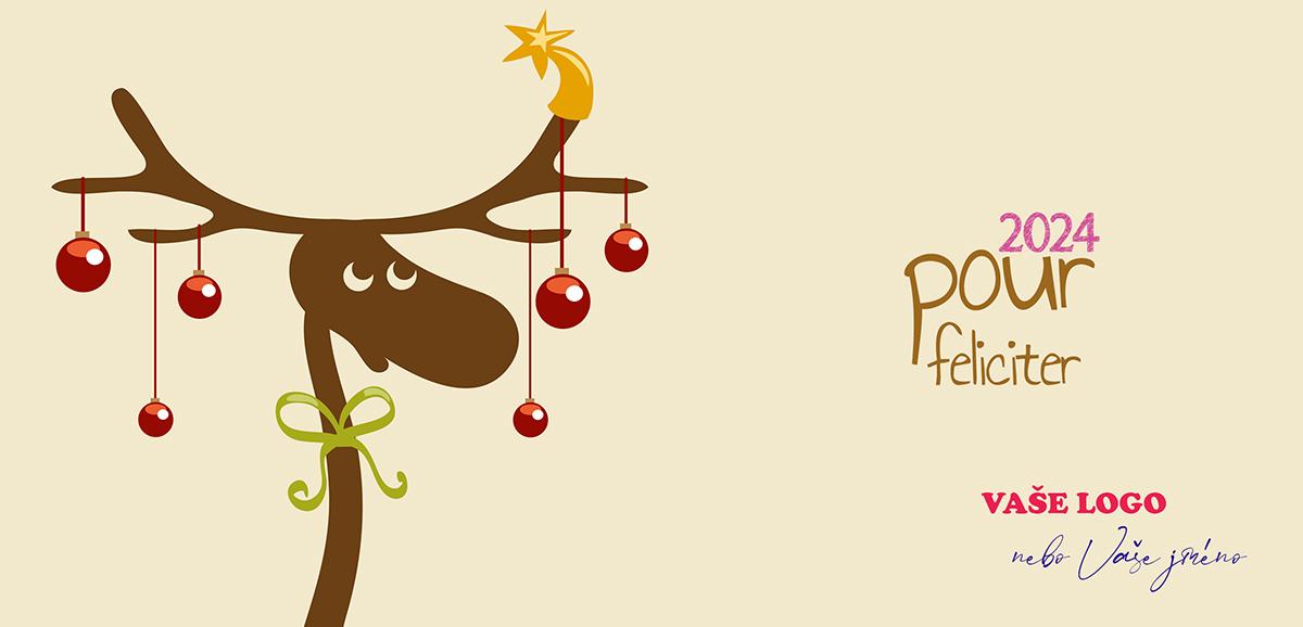 Vtipně nakreslené vánoční přání se sobem s vánočně ozdobenými parohy a stuhou kolem krku.