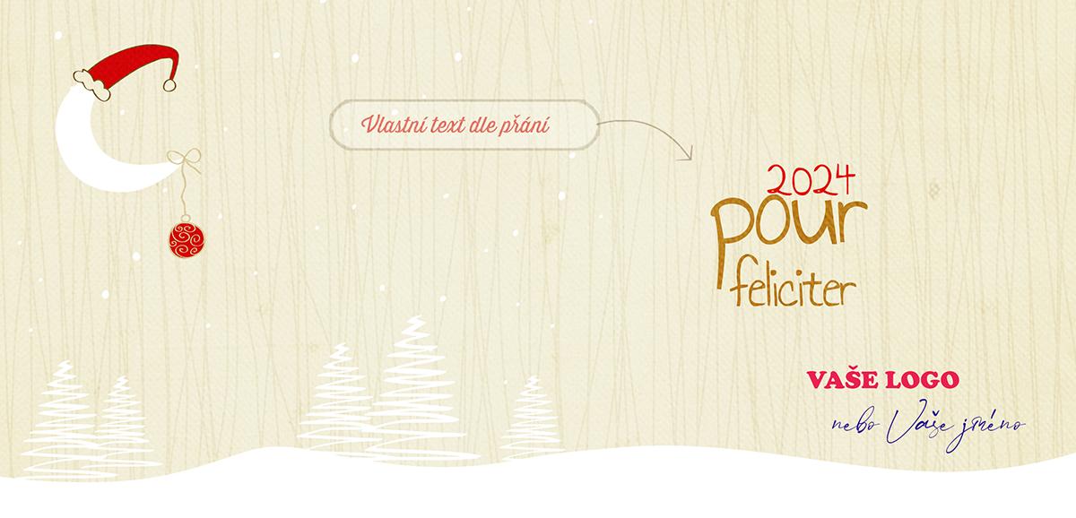 Legračně nakreslená novoročenka se zimní krajinou a vánočně vyzdobeným měsícem na obloze.