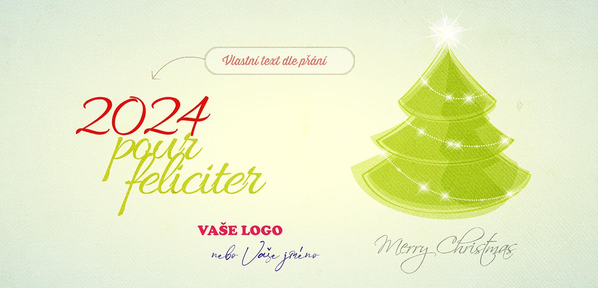 Vkusné firemní vánoční přání se zeleným stromkem s jemným vánočním zdobením a nazelenalým podkladem.