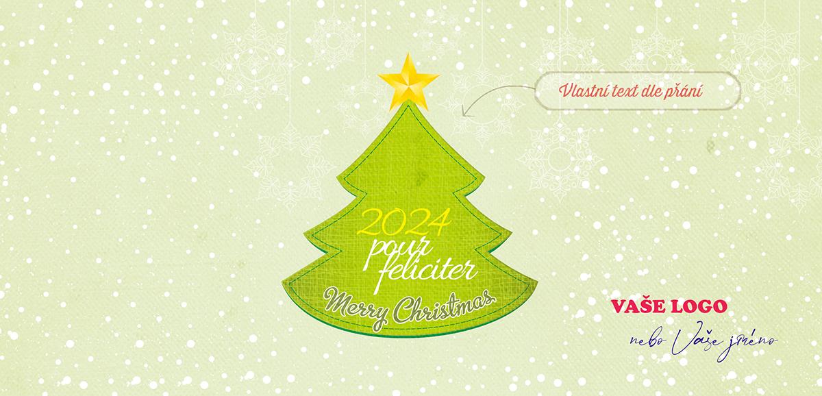 Vánoční přání s našitým stromkem, s nazelenalým pozadím s háčkovanými vločkami a sněžením.