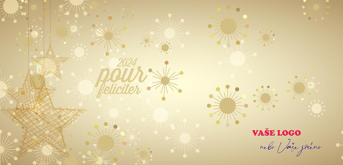 Zlaté vánoční přání kombinuje vyráběné ozdoby hvězd z přírodních materiálů s moderními zlatými vločkami.