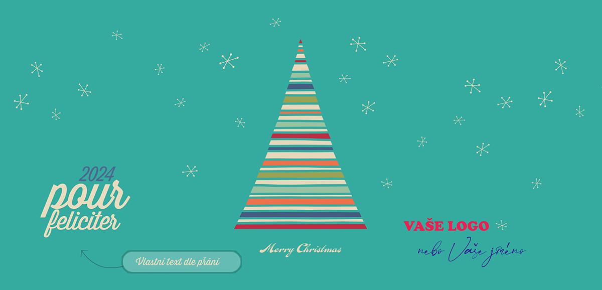 O výrazné firemní vánoční přání se postará pruhovaný barevný stromek na tyrkysovém pozadí s bílými vločkami.