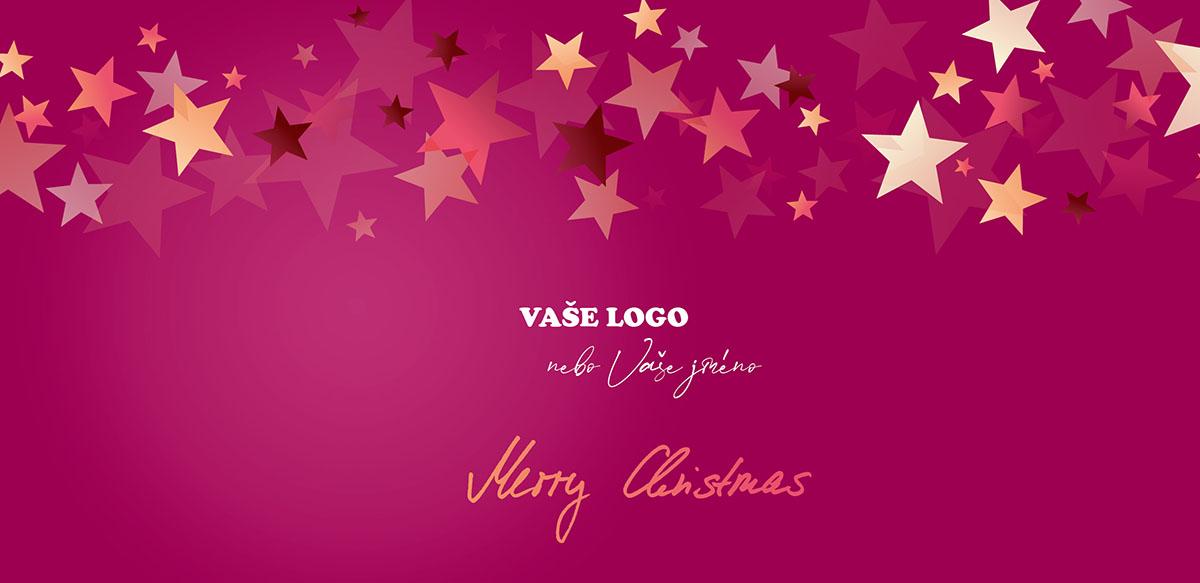 Vánoční přání s červeným jemně strukturovaným pozadím v horní části poseté hvězdami, v němž se některé ztrácí.