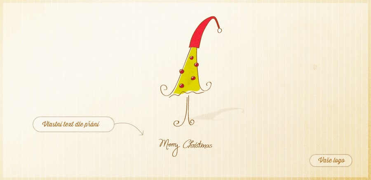 Vánoční přání s karikaturou stromečku se Santovou čepicí na špici na mírně zažloutlém pruhovaném pozadím.
