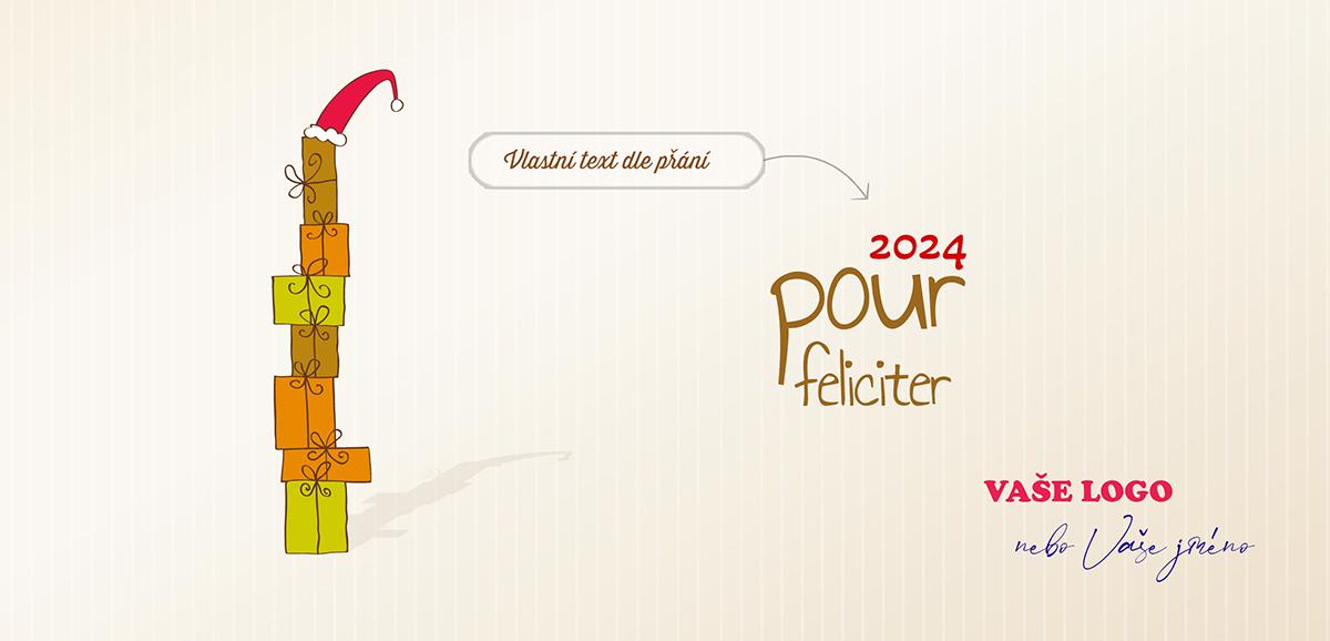 Kreslené vánoční přání s věží postavenou z dárků ozdobenou Santovou čepicí na špici.