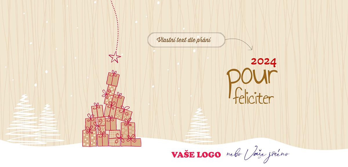 Kreslená novoročenka se stromkem složeným z dárečků, na ten nejvýše položený právě padá hvězda.