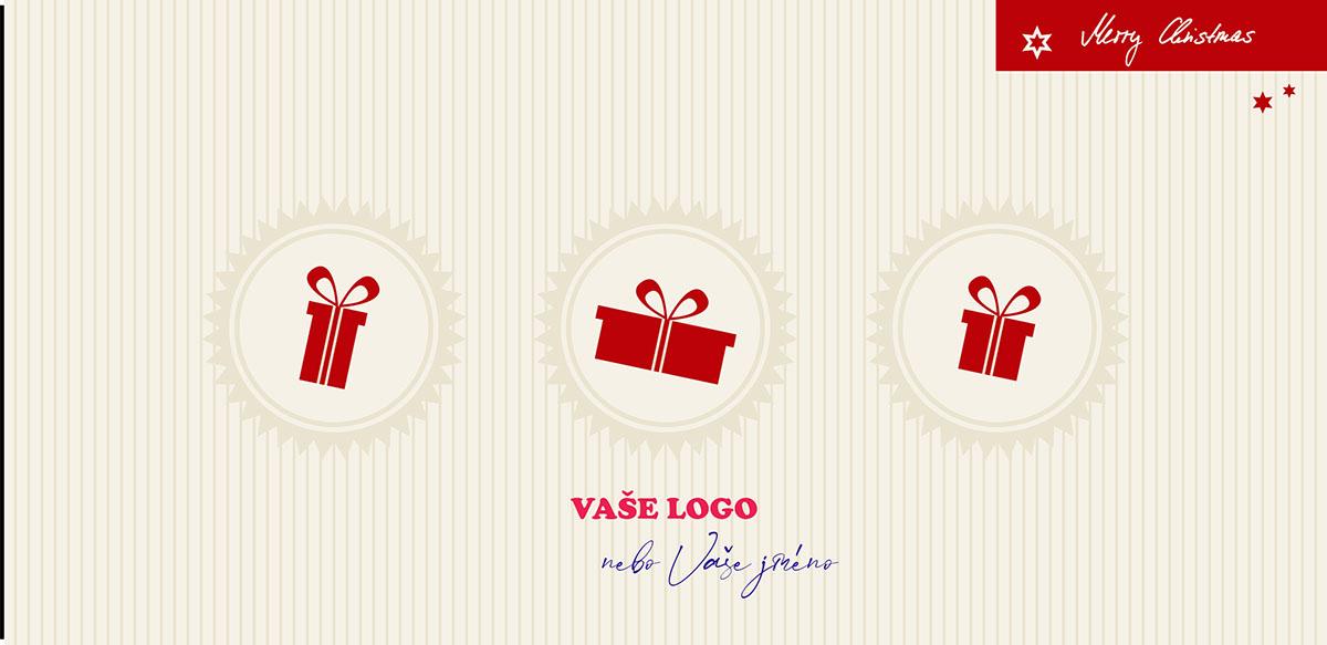 Originální novoročenka se třemi dárky na zátkách na pruhovaném pozadí s nádechem retra.