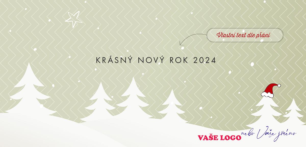 Kreslená zimní krajina s řadou stromů, jeden má na špici Santovu čepici, na vzorovaném pozadí novoročenky.