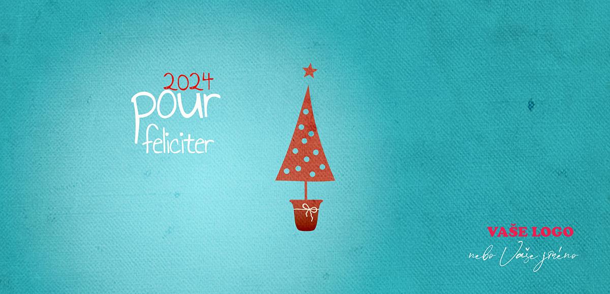 Dětsky kreslené vánoční přání se vánočním stromečkem v květináči na modrém pozadí.