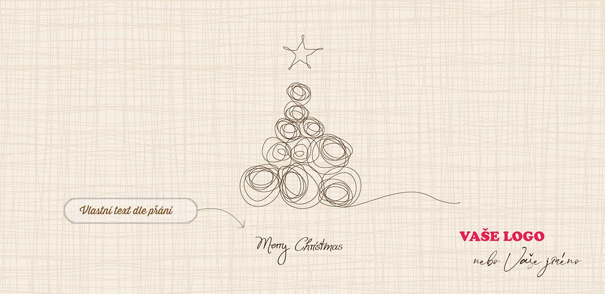 Jednoduše nakreslené vánoční přání se stromečkem z klubíček na zastřeně šrafovaném pozadí.