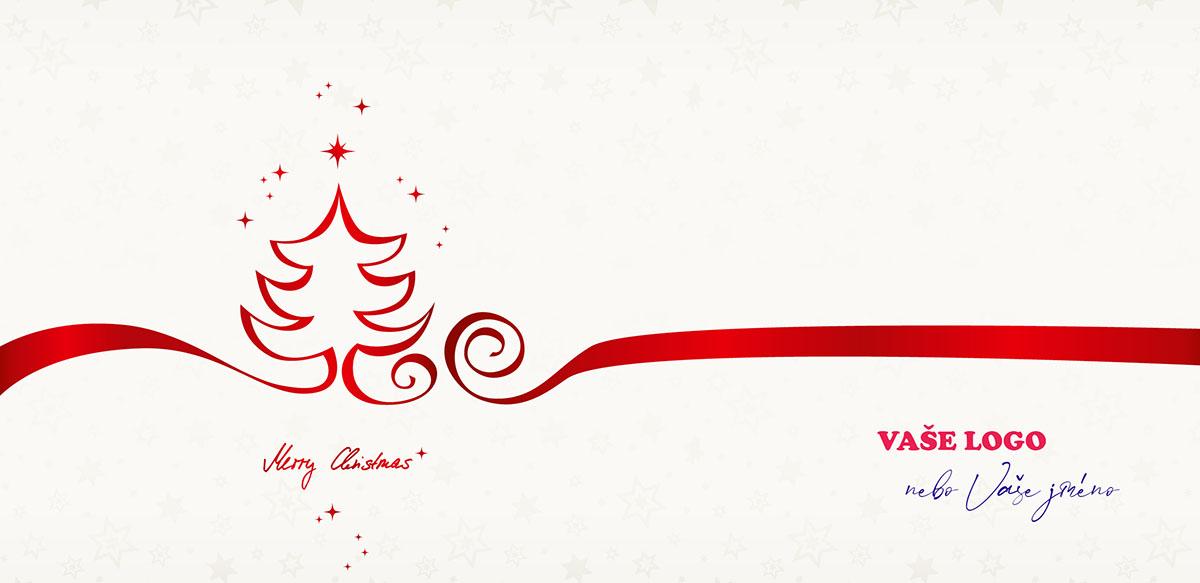 Bílé pozadí firemní novoročenky rozděluje červená stuha, jejíž jeden konec vykreslí vánoční stromeček.
