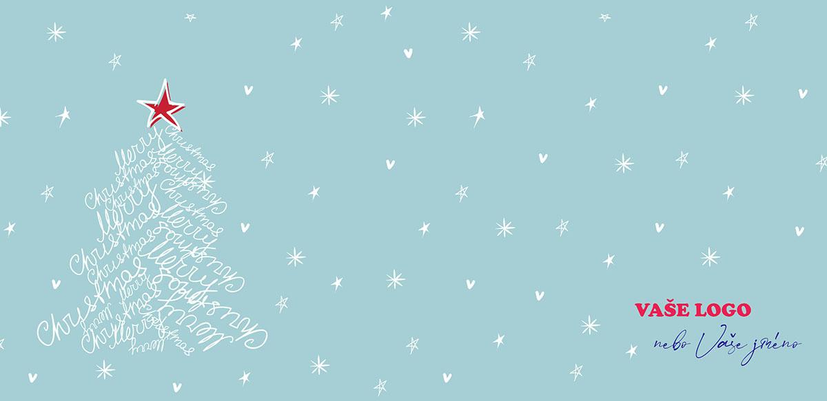 Vtipná novoročenka vznikla spojením stromku z psaného textu přání a zeleného pozadí se srdíčky a hvězdičkami.