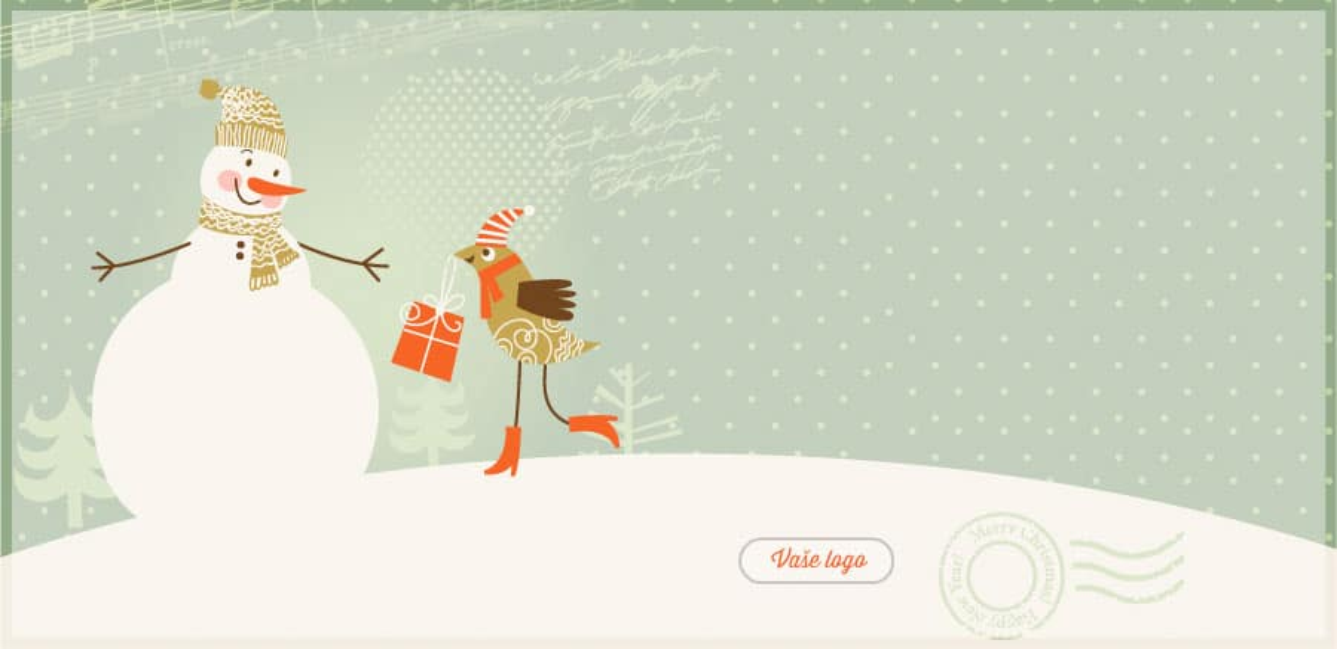 Kreslené vánoční přání se svátečně oblečeným poštovním holubem předávajícím dárek sněhulákovi.