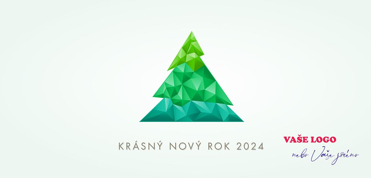 Jednoduchá firemní novoroční přání s vánočním stromkem ze zelených krystalů na bílém pozadí.