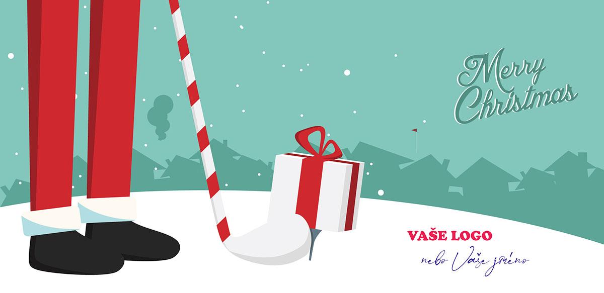 Legrační novoročenka s nohama postavy chystající se hrát golf s dárkem vánočně vyzdobenou holí.