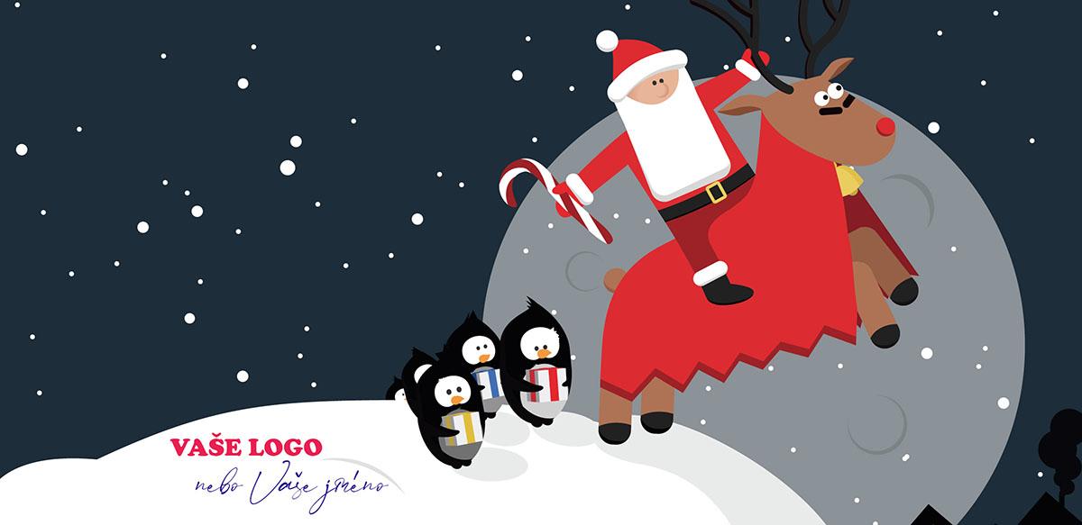 Kreslené vánoční přání se Santou na sobovi právě odjíždějícím od tučňáků, kterým předal dárečky.