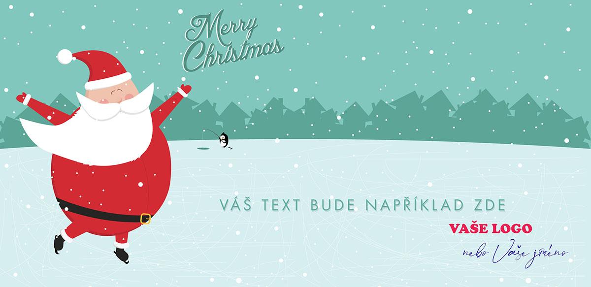 Kreslené vánoční přání s radostně bruslícím Santou na rybníce a tučňákem v dálce lovícím ryby.