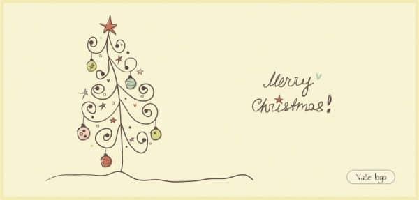 Vánoční přání s dětsky nakresleným jednoduchým, ale pečlivě nazdobeným stromečkem