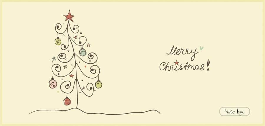 Vánoční přání s dětsky nakresleným jednoduchým, ale pečlivě nazdobeným stromečkem.
