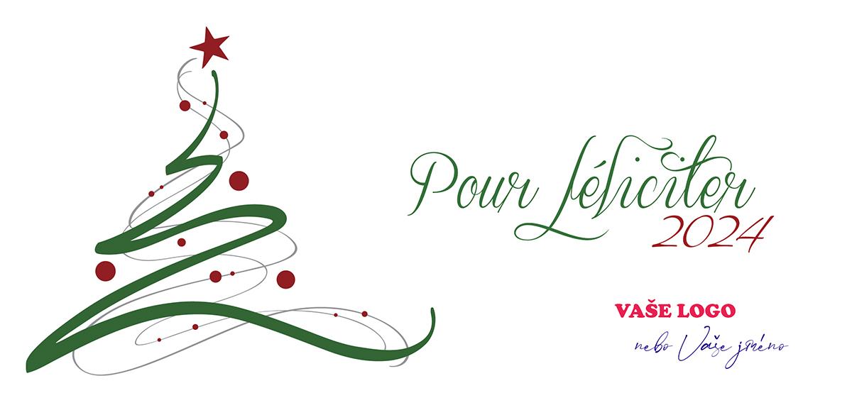 Umělecky dotažená silueta vánočního stromku snadno vyšperkuje firemní vánoční přání.