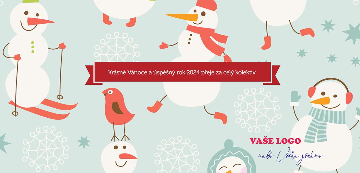 Hraví vánoční sněhuláci v retro stylu zaručují neobyčejné firemní novoročenky.